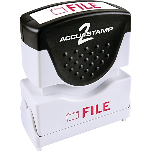 """Accu-Stamp2® One-Color Pre-Inked Shutter Message Stamp, FILE, 1/2"""" x 1-5/8"""" Impression, Red Ink (035576)"""