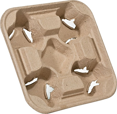NatureHouse® Recycled Fiber Heavyweight 4 Cup Carry Tray, 6
