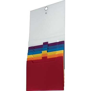 Staples Cascading Horizontal Poly File, Letter Size, Multicolor, 6-Pocket (21712)