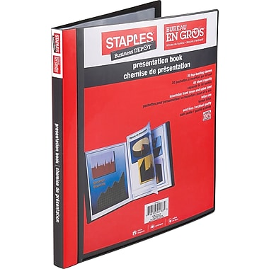 Staples® Multipocket Poly Presentation Folders, 20-Pocket, Black