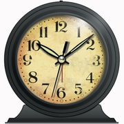 Infinity Instruments 10415-BLACK Boutique Steel Analog Table Clock, Black