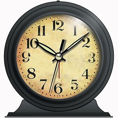 Infinity Instruments Boutique Alarm Clock, Black Metal with Antique Face, 5.5