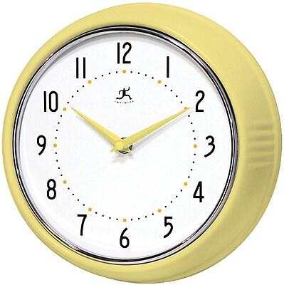 Infinity Instruments Home Essential Retro Iron Wall Clock, Aura Gloss Finish, Round, 9.5