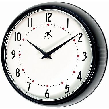 Infinity Instruments 10940-BLACK Retro Steel Analog Wall Clock, Black