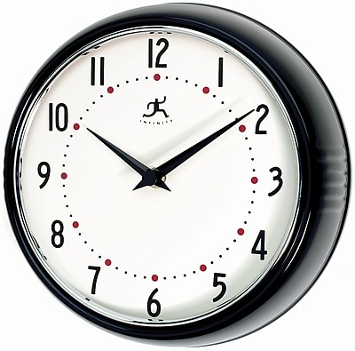 Infinity Instruments Home Essential Retro Iron Wall clock, Black Gloss Finish, Round, 9.5