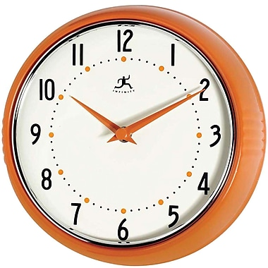 Infinity Instruments Retro Steel Analog Wall Clock, Orange (10940-ORANGE)