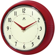 Infinity Instruments 10940-RED Retro Steel Analog Wall Clock, Red