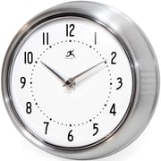 Infinity Instruments 10940/SV Retro Steel Analog Wall Clock, Silver