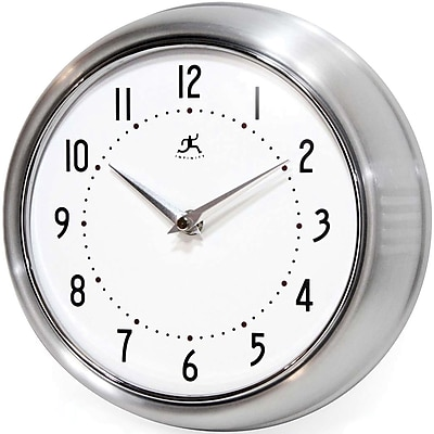 Infinity Instruments Home Essential Retro Iron Wall Clock, Silver Glass Finish, 9.5