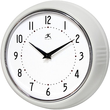 Infinity Instruments Retro Steel Analog Wall Clock, White (10940-WHITE)
