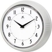 Infinity Instruments 10940-WHITE Retro Steel Analog Wall Clock, White