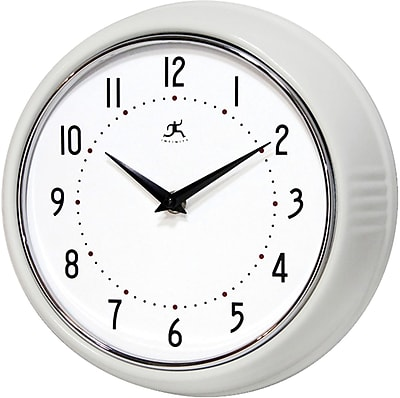 Infinity Instruments Home Essential Retro Iron Wall Clock, White Gloss Finish, Round, 9.5