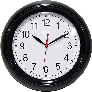 Infinity Instruments Focus Resin Analog Wall Clock, Black (11316BK/830)