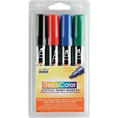 Uchida Chisel Point Permanent Marker, Assorted, 4/Pack