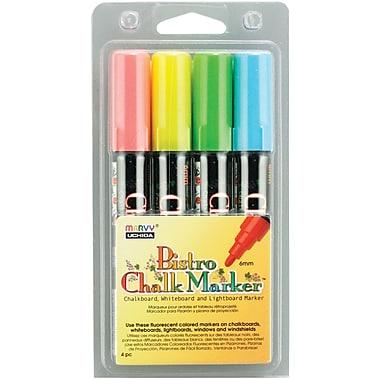 Uchida Bistro Chalk Marker Set 4/Pkg-Fluorescent Blue/Red/Green/Yellow