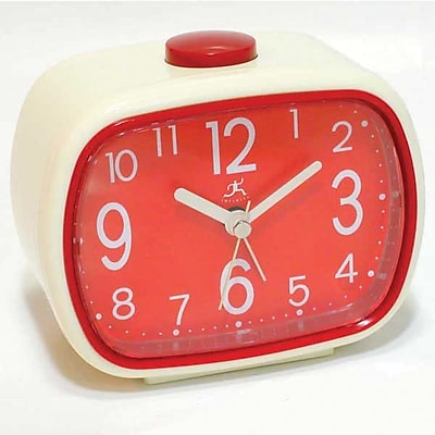 Infinity Instruments 70's Retro Alarm Clock, Cream and Red Plastic, 3.5