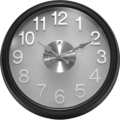 Infinity Instruments The Onyx Modern Translucent Wall Clock, Black Resin Case, Round, 15