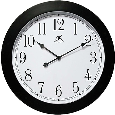 Infinity Instruments 14103 Nexus Resin Analog Wall Clock, Black