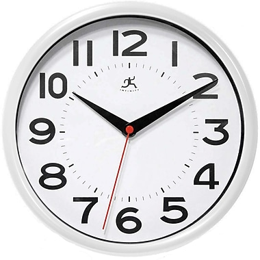 Infinity Instruments 14220WH-3364 Metro Resin Analog Wall Clock, White