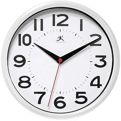 Infinity Instruments 14220WH-3364 Metro Resin Analog Wall Clock, White