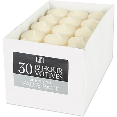 Darice Unscented 12 Hour Votive Candle, 30/Pkg, Ivory