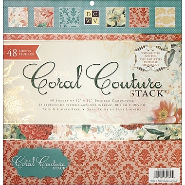 Diecuts With A View Coral Couture Paper Stack 12