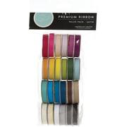 American Crafts Value Pack Premium Ribbon, 24 Spools, Solid Satin