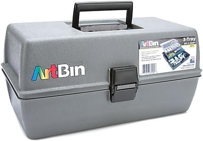 ArtBin Upscale 3 Tray Box Art Tote, Slate Grey