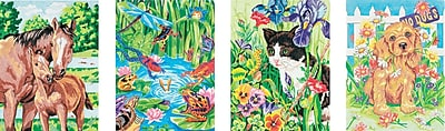 """""""""""Dimensions Pencil Works Color By Number Kit, 9"""""""""""""""" x 12"""""""""""""""", 4/Pkg Animal Friends"""""""""""" 941786"""