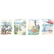 """Dimensions Pencil By Number Kit, 9"""" x 12"""", Set of 4: Beach Scenes"""