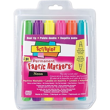 Duncan Scribbles Twin Tip Point Permanent Neon Fabric Marker, Assorted, 6/Pack