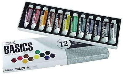 Reeves Liquitex Basics Non-toxic 0.73 oz. Acrylic Paint, 12/Set (101012)