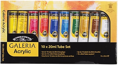 Reeves Galeria Acrylic Paint, 20ml/Tube, 10/Pkg, Assorted Colors