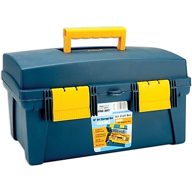 Pro-Art Storage Box, With Inner Tray, Blue/Yellow