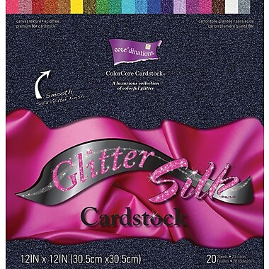 Darice Core'dinations Glitter Silk Cardstock Assortment, 12