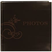 "Pioneer Embroidered Scroll Leatherette Brown Photo Album-Holds 2-Up 4"" x 6"" Photos, 200 Capacity"