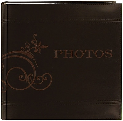 Pioneer Embroidered Scroll Leatherette Brown Photo Album-Holds 2-Up 4