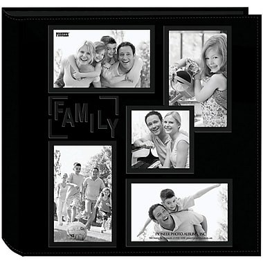 Pioneer 5-Up Collage Frame Sewn Embossed Photo Album, Black