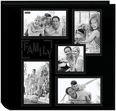 Pioneer 5-Up Collage Frame Sewn Embossed Photo Album, Black