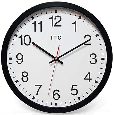 Infinity Instruments 90/0014-1 Obsidian Plastic Analog Wall Clock, Black