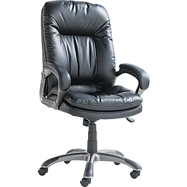 OIF GM4119 Leather High-Back Executive Chair with Fixed Arms, Black