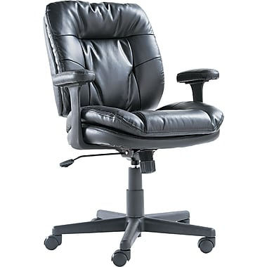 OIF ST4819 Leather Task Chair with Fixed Arms, Black