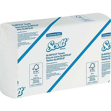 Kimberly-Clark Scott Slimfold Towel, Unscented, White, 2,640 / Case