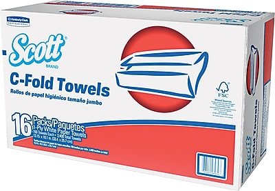 Kimberly-Clark® C-Folded Paper Towel, Unscented, White, 1-Ply, 2,400/Case