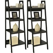 Altra Lawrence 4 Shelf Ladder Bookcase Bundle, Black