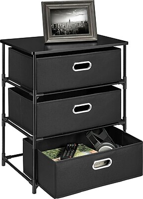 Altra Sidney 3 Bin Storage End Table, Black
