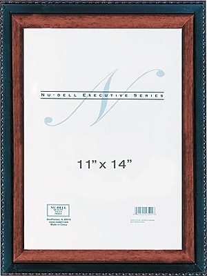 NuDell Executive Document Certificate Frame, Plastic, 11 x 14, Black/Mahogany, Each (17403)