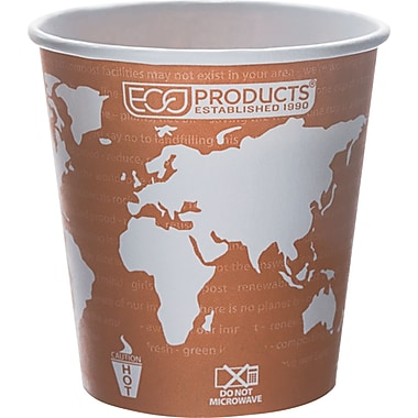 Eco-Products® World Art™ Renewable and Compostable PLA Plastic Hot Drink Cup, 10 oz., Rust, 50/Pack