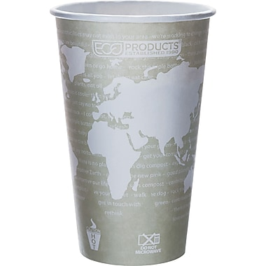 Eco-Products® World Art™ Renewable and Compostable PLA Plastic Hot Cup, 16 oz., 50/Pack