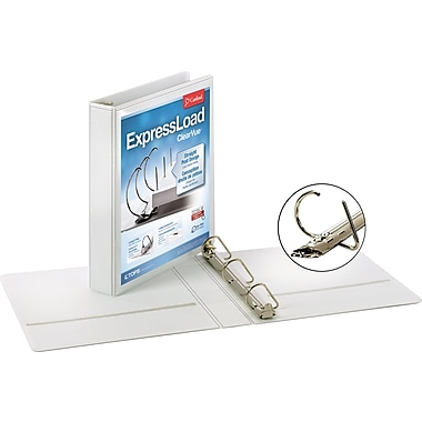 Cardinal ExpressLoad ClearVue 1.5-Inch D 3-Ring Binder, White (49110)